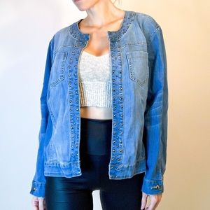 BACCINI open front studded denim jacket OSFA 2x